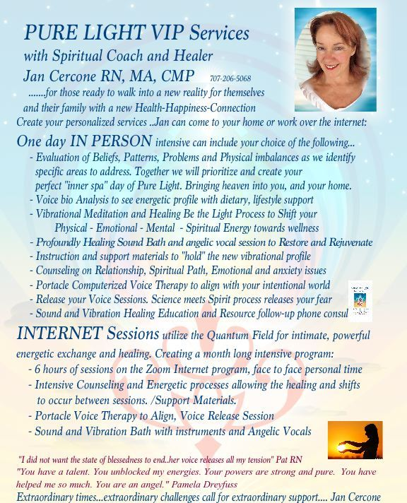 VIP Services for Sound and Light Healing Arts with Jan Cercone