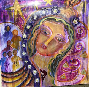 "Our Lady of Healing the Heart. 36x36"" $5,000."