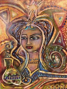Ancient Peruvian Woman 16x20 with rhinestones $250