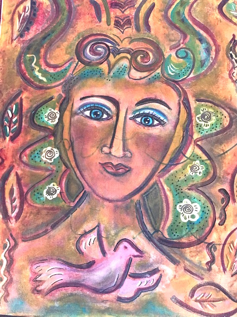 Dove and Woman 16x20 $325
